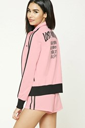 Forever 21 Lost Youth Track Jacket Pink Black