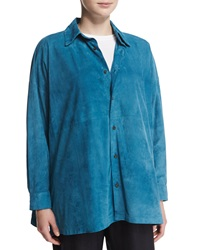 Eskandar Lightweight Suede Button Down Shirt Marine