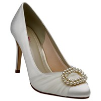 Rainbow Club Beatrice Satin And Tulle Faux Pearl Stiletto Heel Court Shoes Ivory
