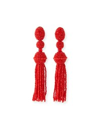 Oscar De La Renta Long Beaded Tassel Clip On Earrings Gunmetal