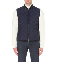 Brioni Leather Trimmed Shell Gilet Navy