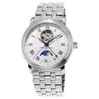 Frederique Constant Fc 335Mc4p6b2 Men's Moon Phase Steel Bracelet Strap Watch Silver White