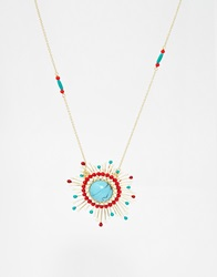 Les Nereides Turquoise Sunset Pendant Necklace Uni