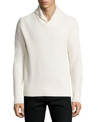 Michael Kors Shawl Collar Cashmere Blend Sweater White