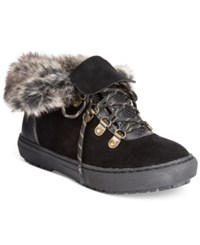 Sporto Snug Lace Up Faux Fur Cold Weather Sneakers Women's Shoes Black