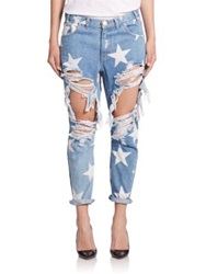 One Teaspoon Le Punk Star Print Distressed Saints Boyfriend Jeans Le Bonne