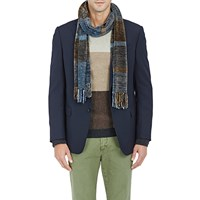 Barneys New York Chenille Tonal Striped Scarf Brown Pat.