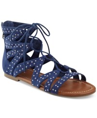 G By Guess Leidah Lace Up Gladiator Sandals Women's Shoes Navy