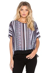 Clover Canyon Striped Tapestry Top Blue