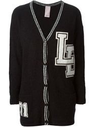 People Embroidered Patches Cardigan Black