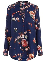 Warehouse Pattern Painted Floral Blouse Blue Pattern