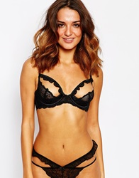 Asos Poppy Caged Ruffle Underwire Bra Black