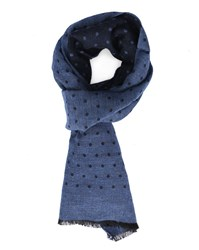 Hackett Navy Wool Muslin Dotted Scarf Blue