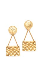 Wgaca Chanel Quilted Flap Bag Earrings Previously Owned Gold