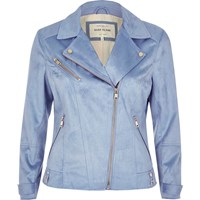 River Island Womens Blue Faux Suede Biker Jacket