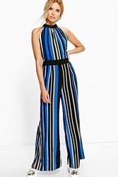 Boohoo Stripe Jumpsuit Blue