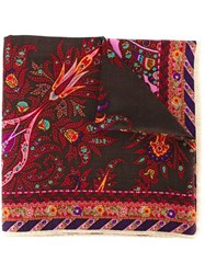 Etro Floral Print Scarf Brown