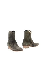 Fauzian Jeunesse Vintage Ankle Boots Military Green