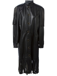 Christian Dior Vintage Leather Coat Black