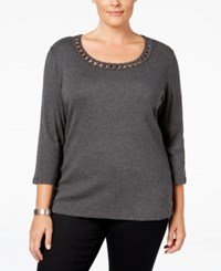 Karen Scott Plus Size Twist Detail Scoop Neckline Top Only At Macy's Charcoal Heather