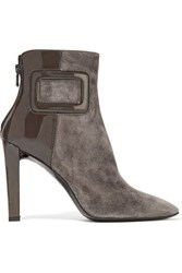 Roger Vivier Patent Leather Paneled Suede Ankle Boots Anthracite