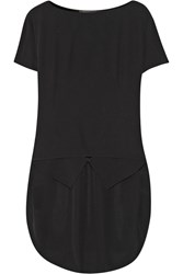 Agnona Asymmetric Silk Crepe De Chine Top Black