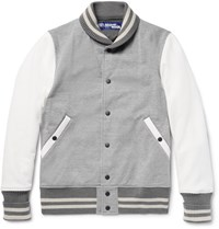 Junya Watanabe Cotton Blend Jerey And Faux Uede Bomber Jacket Gray