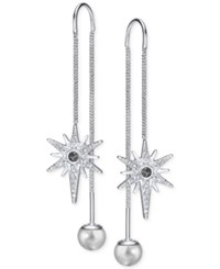 Swarovski Silver Tone Pave Star And Polished Ball Threader Earrings