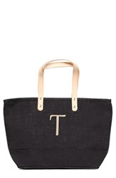 Cathy's Concepts 'Nantucket' Personalized Jute Tote Grey Black T