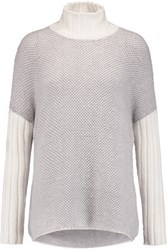 Pringle Of Scotland Two Tone Open Knit Cashmere And Silk Blend Turtleneck Sweater Gray