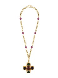 Chanel Vintage Cross Pendant Necklace Multicolour