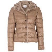 Oui Reversible Quilted Short Jacket Light Brown Camel
