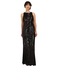 Adrianna Papell Sleeveless Cable Sequin Gown Black Women's Dress