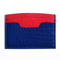 Maison Takuya Alligator Credit Card Case Glossy Sapphire Blue Red