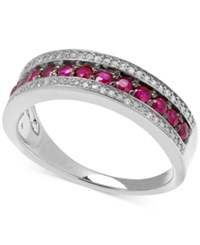 Macy's Diamond 1 8 Ct. T.W. And Ruby 5 8 Ct. T.W. Band In Sterling Silver