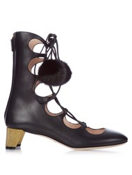 Gucci Heloise Lace Up Gladiator Leather Boots Black