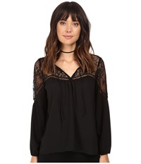 Bb Dakota Ormond Lace Yoke Top Black Women's Clothing