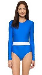 Cover Long Sleeve Swimsuit Blue White