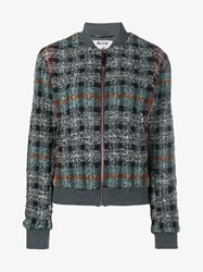 Acne Studios Azura Tweed Bomber Jacket Blue Copper White Grey Multi Coloured