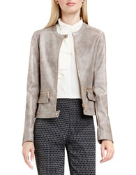 Vince Camuto Long Sleeve Pleather Moto Jacket Ash Rose