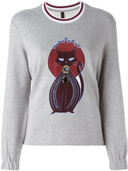Mother Of Pearl Embellished Cat Sweatshirt Grey
