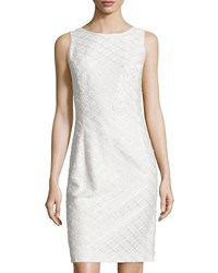 Oscar De La Renta Sleeveless Tweed Sheath Dress White