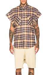 Fear Of God Sleeveless Flannel In Neutrals Checkered And Plaid Neutrals Checkered And Plaid