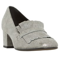 Dune Black Argyll Fringe Block Heeled Loafers Silver