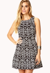 Forever 21 Fancy Southwestern Pattern Dress Black Ivory