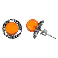 Goldmajor Amber And Marcasite Round Stud Earrings Silver Orange