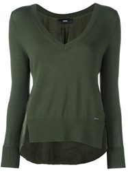 Diesel V Neck Panelled Jumper Green