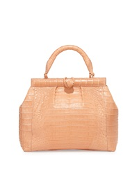 Nancy Gonzalez Single Handle Crocodile Satchel Bag Papaya