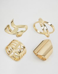 Glamorous Crossover Ring Layering Pack Gold