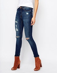 Mango Distressed Busted Knee Skinny Jeans Med Blue Denim